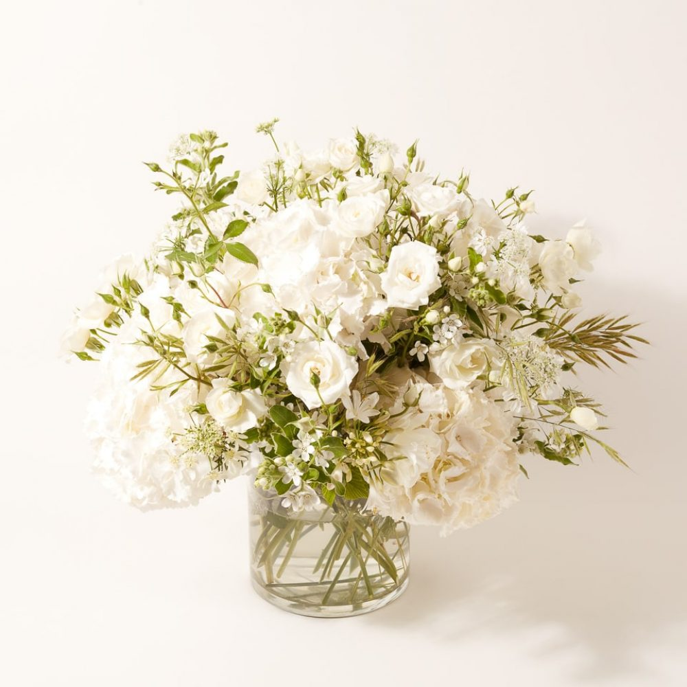 Bouquet of white flowers and plants